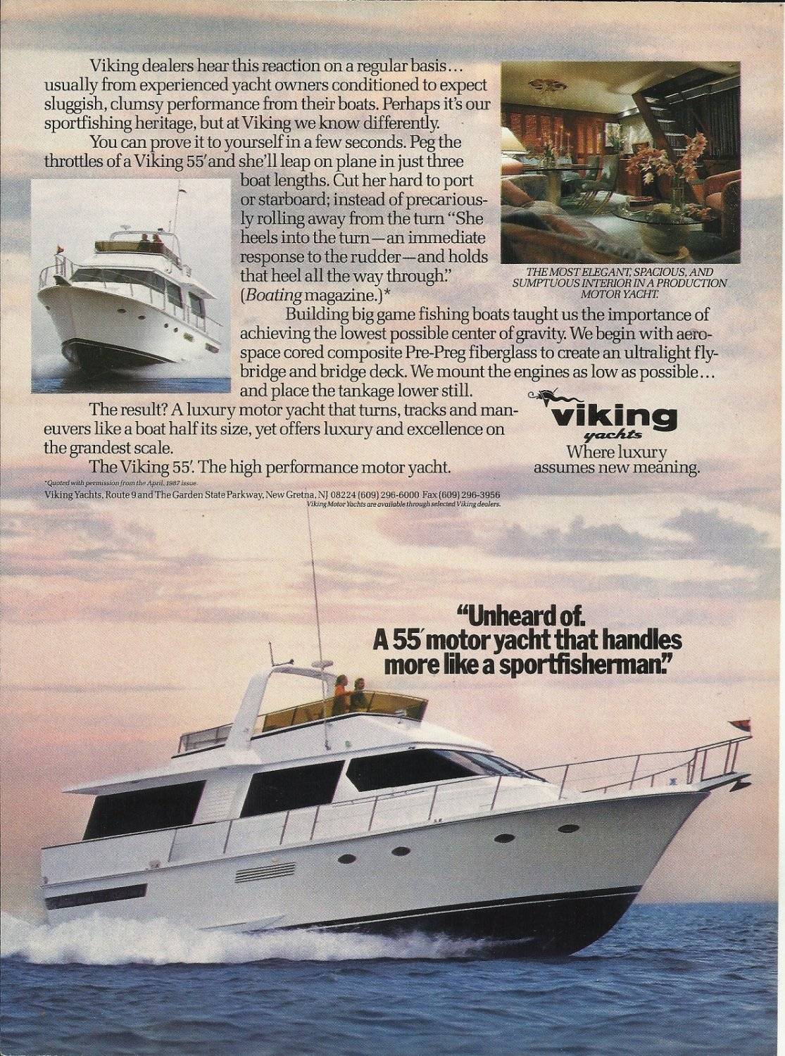 1988 Viking Yachts Color Ad- The 55' Motor Yacht
