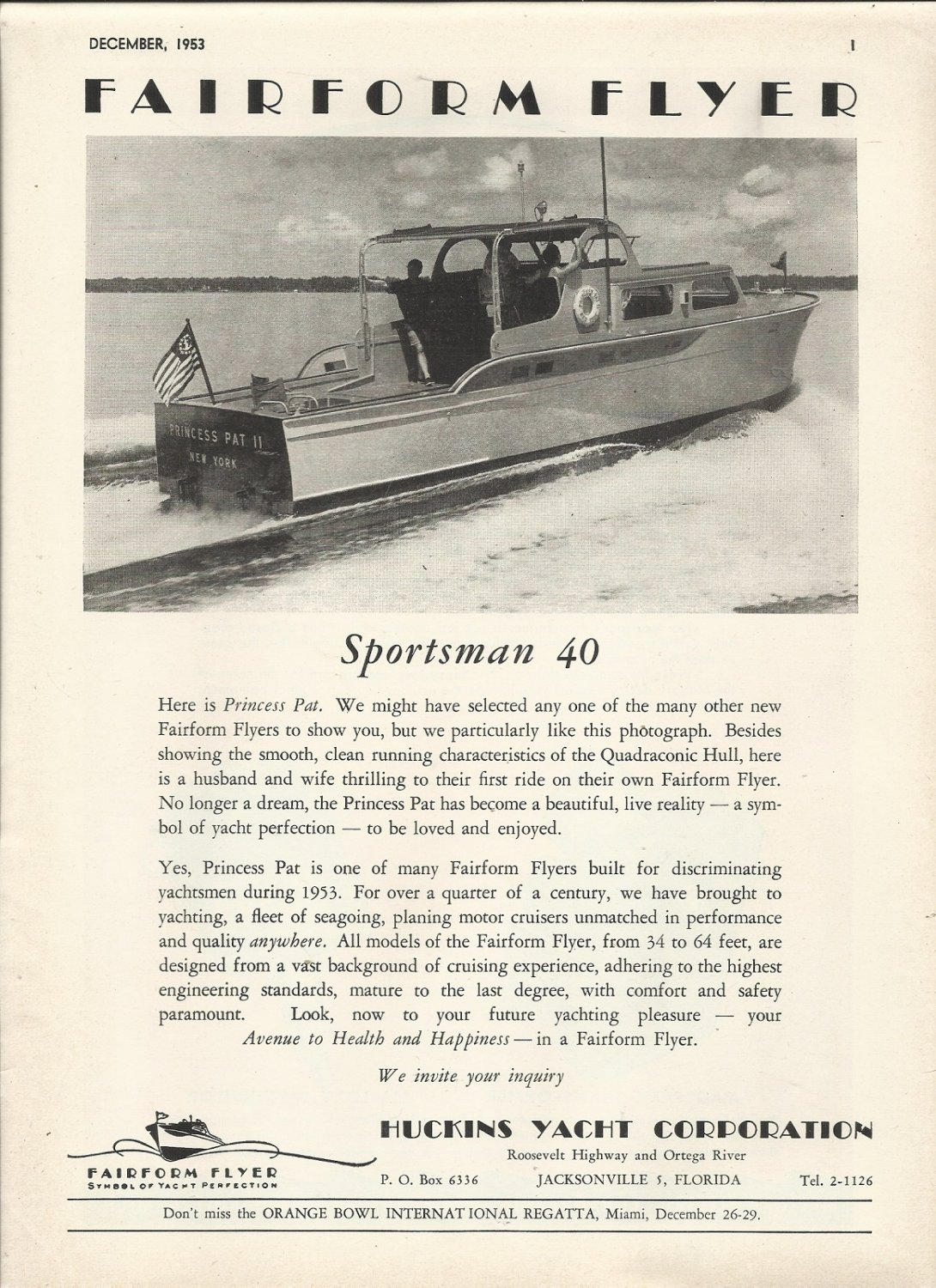 1953 Huckins Yacht Corp Ad- The Sportsman 40