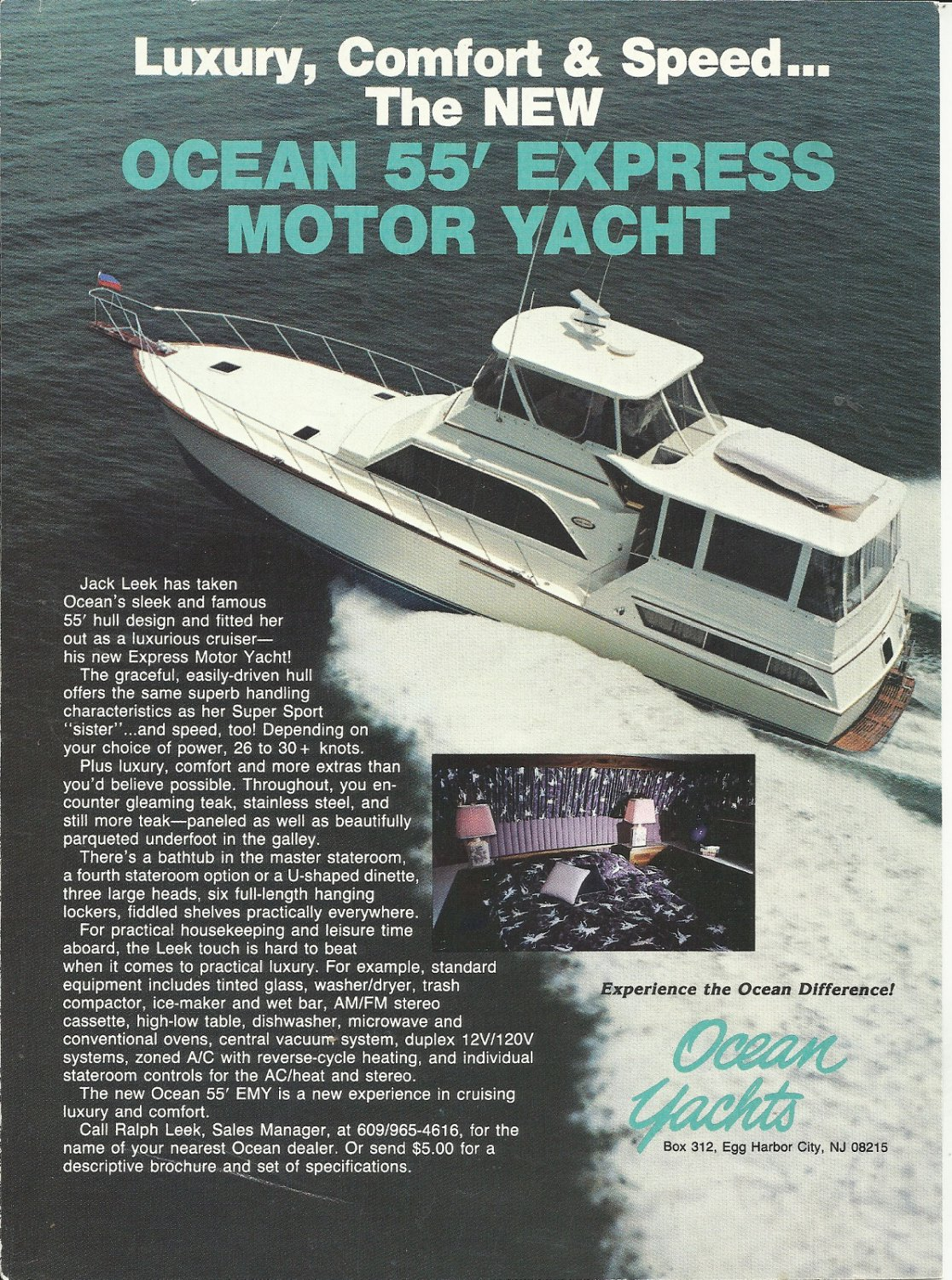 1984 Ocean Yachts Color Ad- The 55' Express Motor Yacht