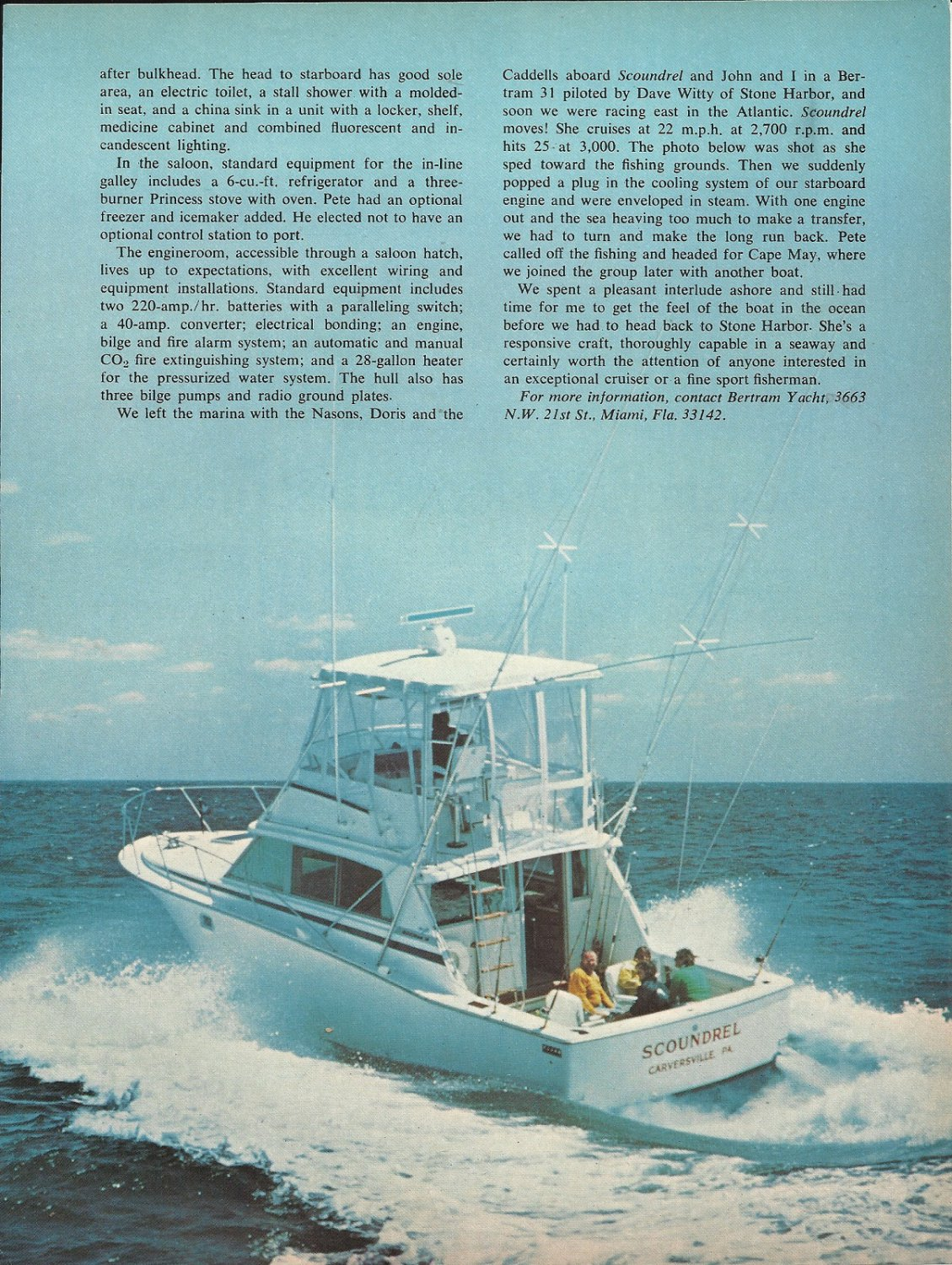 1978 Pete Nason of Carversville PA. & His Bertram Yachts Article & Photos