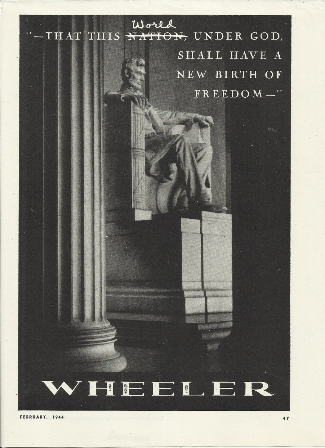 1944 WW II Wheeler Yacht Co. Ad- Lincoln Memorial