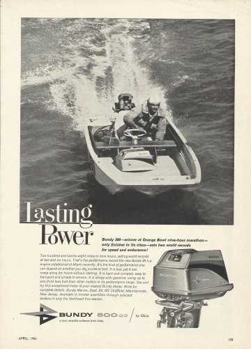 1961 Ghia Bundy 500 cc Outboard Motor Ad