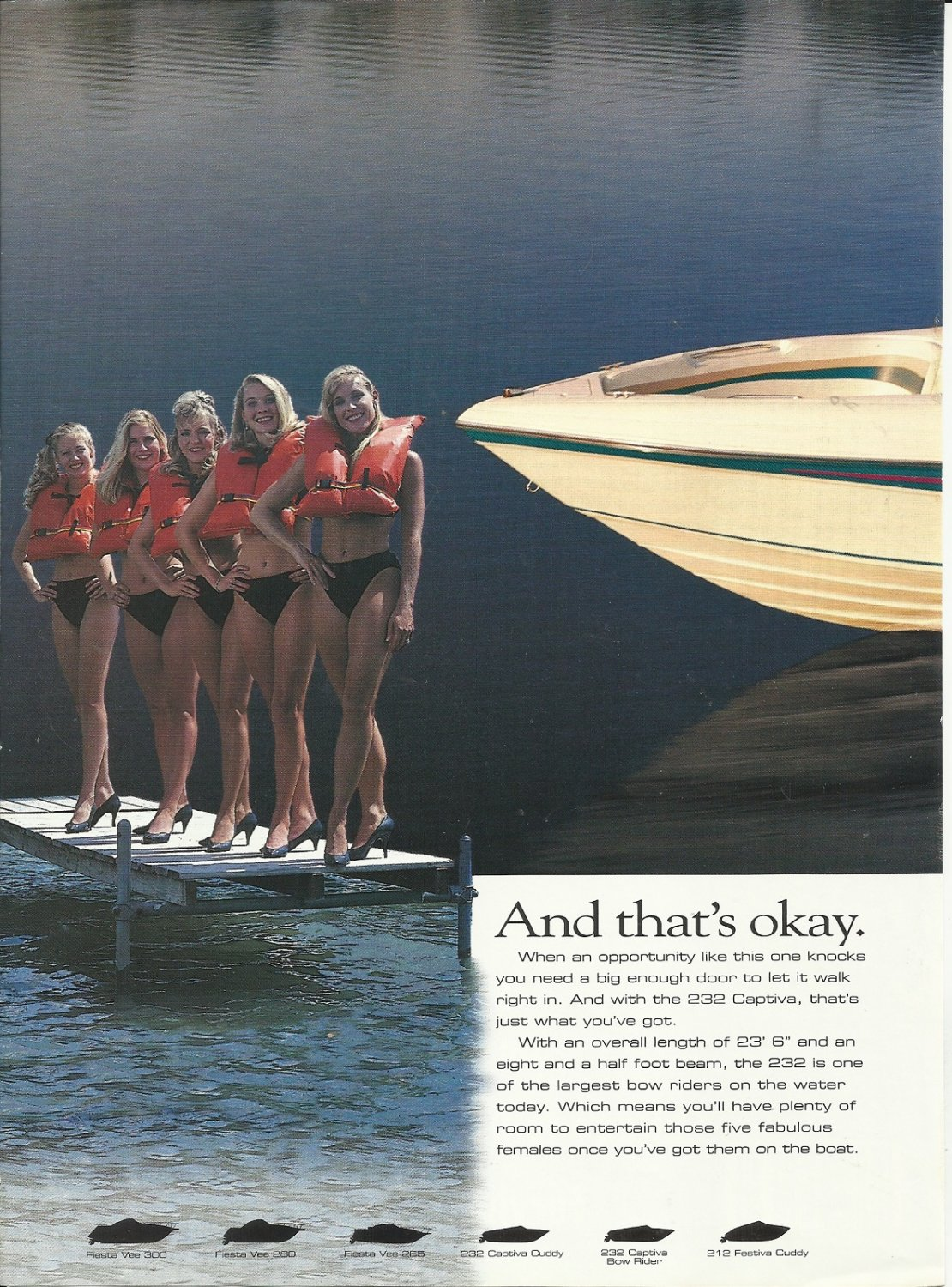 1995 Rinker Boats 2 Page Color Ad-The Captiva 232- Hot Girls