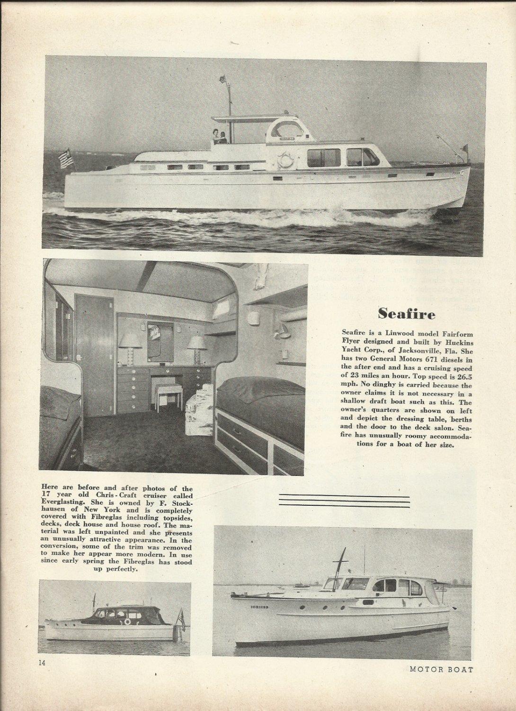 1953 Huckins Yacht Corp Ad- The Linwood Seafire