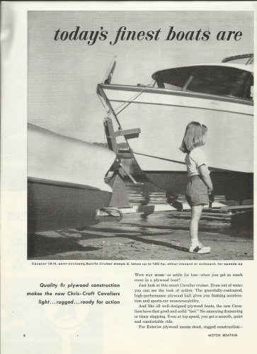 1958 Douglas Fir Plywood 2 Pg Ad -Chris- Craft Cavalier Boat