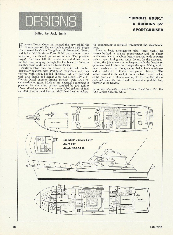 "1972 Huckins Yacht Corp 65' Sportcruiser ""Bright Hour"" Review & Specs"