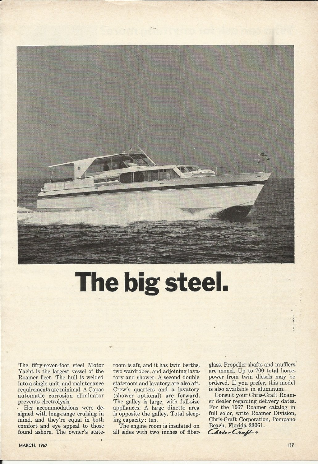 1967 Chris- Craft Boats Ad- The 57' Motor Yacht