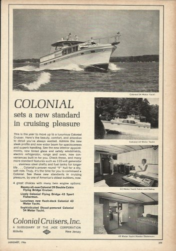 1966 Colonial Cruisers Inc Ad- The Colonial 43' & 54'