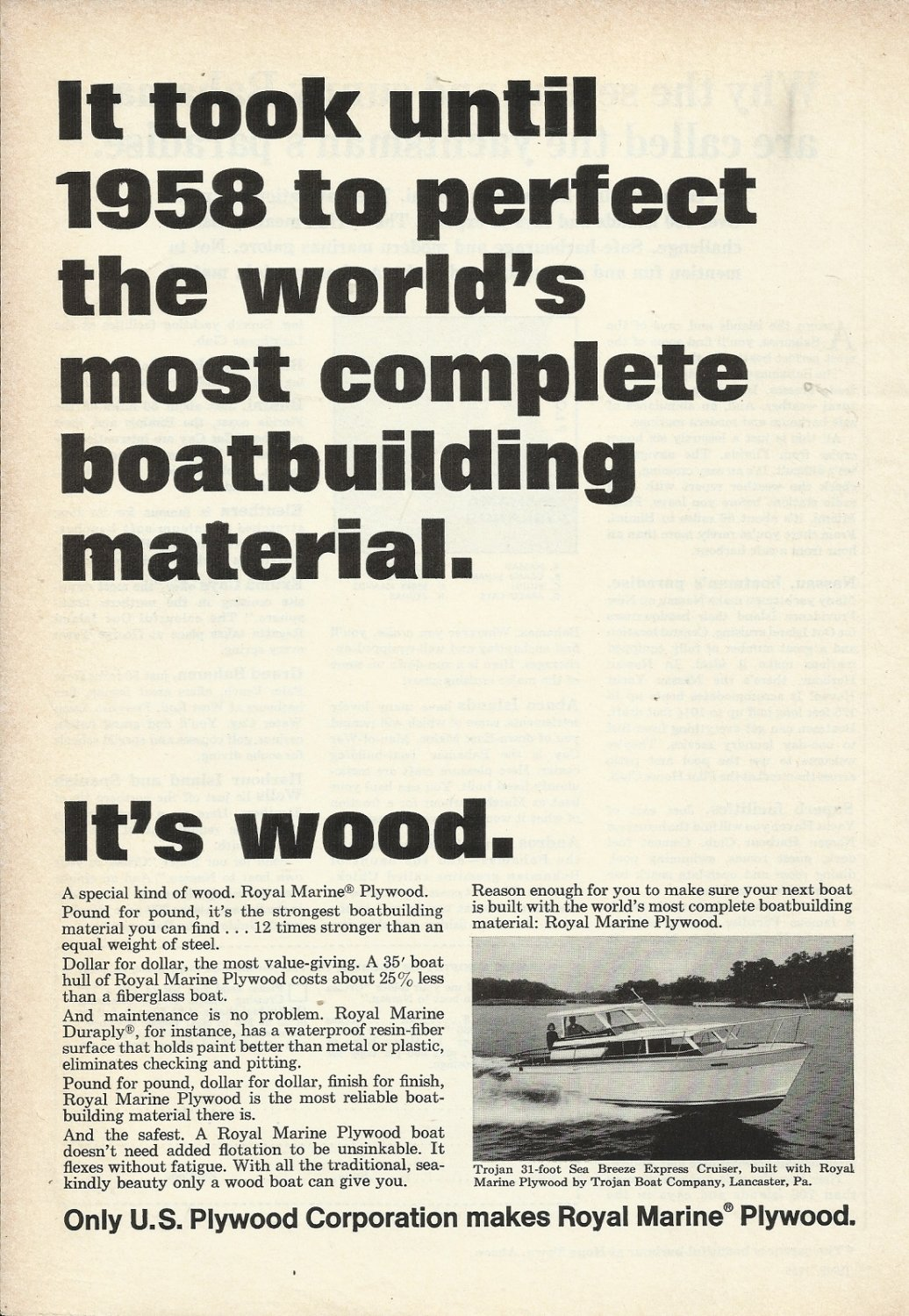 U s plywood corp ad featuring trojan sea breeze yacht