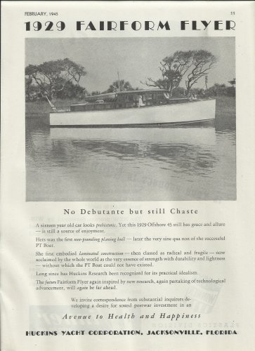 1945 Huckins Yacht Corp. Ad- 1929 Offshore 45