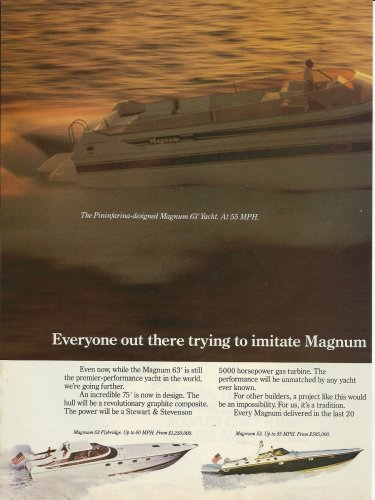 1985 Magnum Marine Boats 2 Page Color Ad- The Magnum 63' Yacht