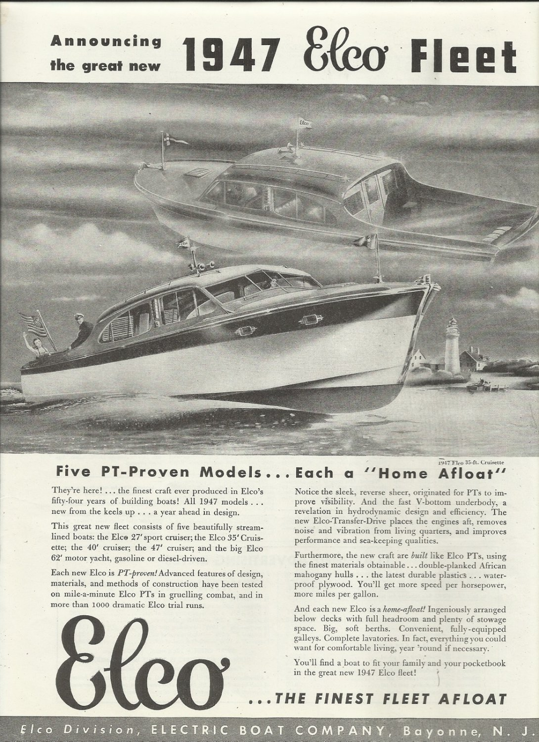 1947 Electric Boat Company Ad- The Elco 35' Cruisette