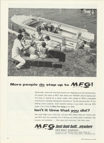 1965 MFG Boat Company Ad- MFG With Johnson Outboard