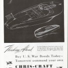 1943 Chris- Craft Boats Ad- Motor Boat