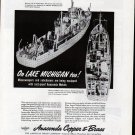 1943 WW II Anaconda Copper & Brass Ad- Burger Minesweeper & Subchaser