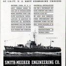 1942 WW II Smith- Meeker Engineering Co Ad- Trumpy Subchaser SC635-Nice Photo