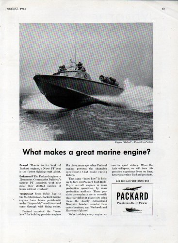 "1943 WW II Packard Marine Engines Ad- Higgins ""Hellcat"" Navy PT Boat"