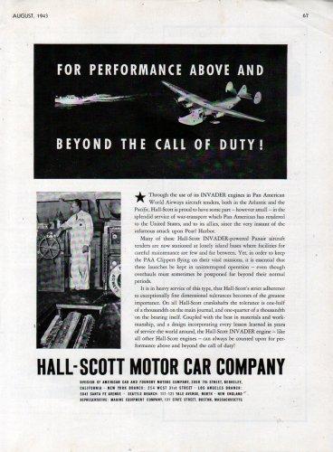 1943 WW II Hall- Scott Motor Car Company Ad- Invader Engines