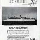 "1941 Exide Ironclad Marine Batteries Ad- The S.S. ""Monterey"""