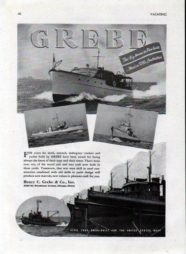 1944 WW II Henry C Grebe Warcraft Ad- Navy Tugs-YMS-406