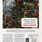 1945 WW II Borg- warner Color Ad-James Sessions Art-Ammunition Production