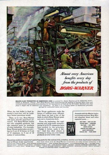 1945 WW II Borg- warner Color Ad-James Sessions Art-Ammunition Production