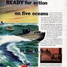 1943 WW II Sterling Engine Co Color Ad-Navy Aircraft Rescue Boat