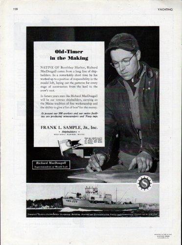 1943 WW II Frank L Sample JR. Shipbuilding Ad- Minesweeper YMS-226