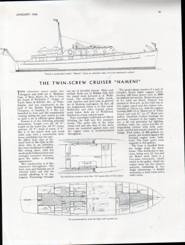 """1940 Mathis Yacht Building Co 55' Cruiser """"Nameni"""" Review"""