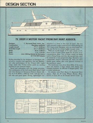 1981 C Raymond Hunt 75' Deep- V Motor yacht Review & Specs