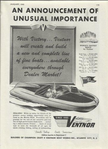 1945 Ventnor Boat Works Inc Ad- The Ventnor Cruiser