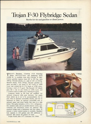 1980 Trojan Yacht Trojan F-30 Flybridge Sedan Review & Photo