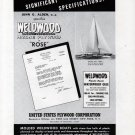 "1941 United States Plywood Corp Ad- Quincy Adams Yacht ""Rose"""