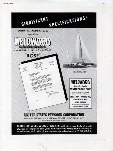 """1941 United States Plywood Corp Ad- Quincy Adams Yacht """"Rose"""""""