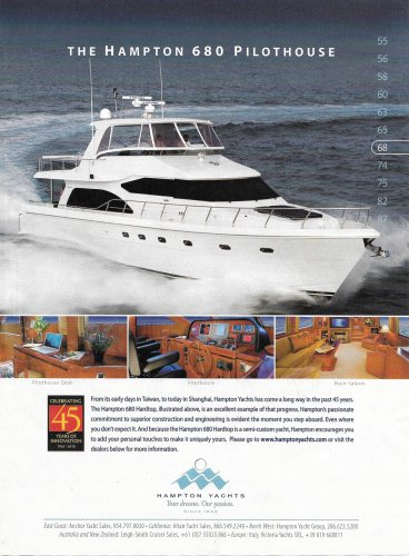 2010 Hampton Yachts Color Ad- The 680 Pilothouse