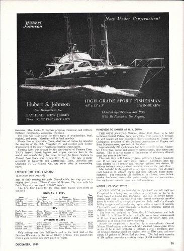 1949 Hubert S Johnson Boats Ad- 45' Sport Fisherman