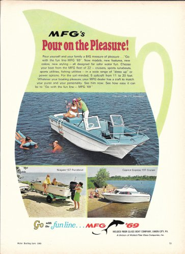 1969 Molded Fiber Glass Boat Company Color Ad- MFG Boats- 3 Models