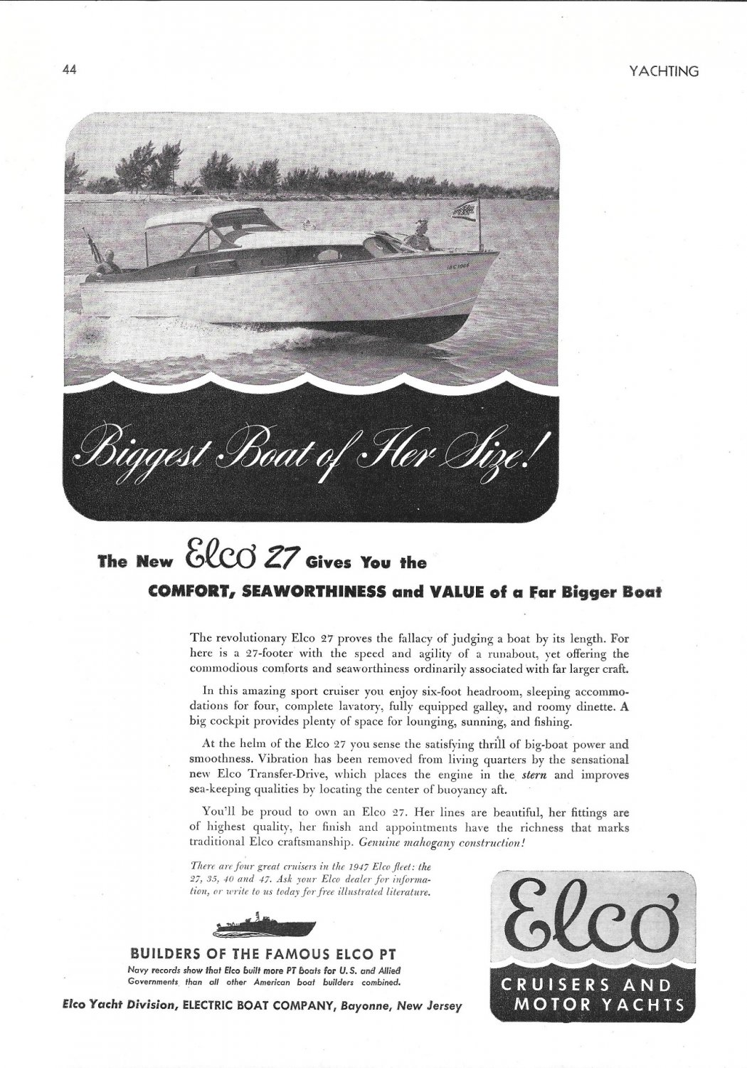1947 Electric Boat Company Ad- The Elco 27