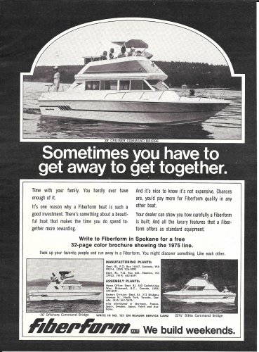 1975 Fiberform Boats Ad- The 28' Cruiser-22.5 Sitka- 26' Offshore