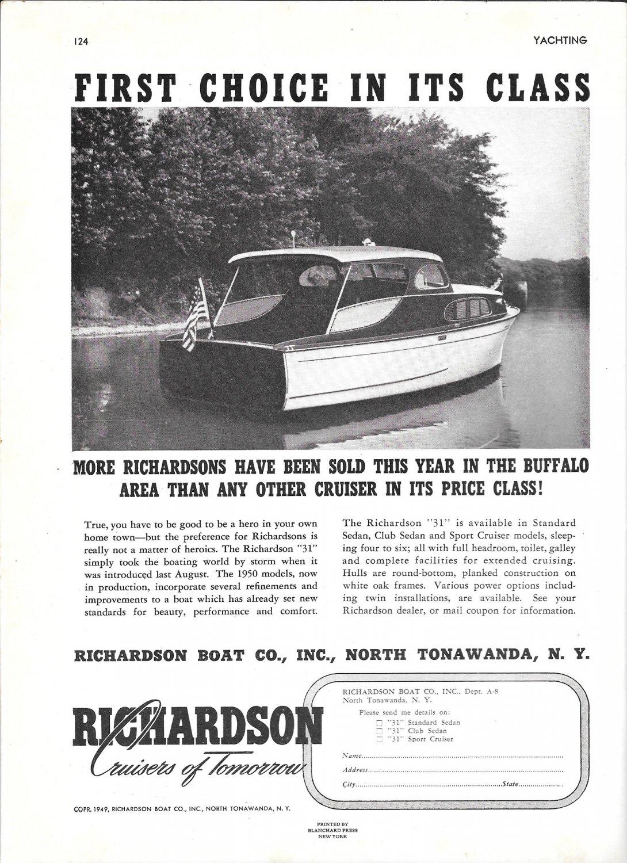 """1949 Richardson Boat Company Ad- The Richardson """"31"""""""