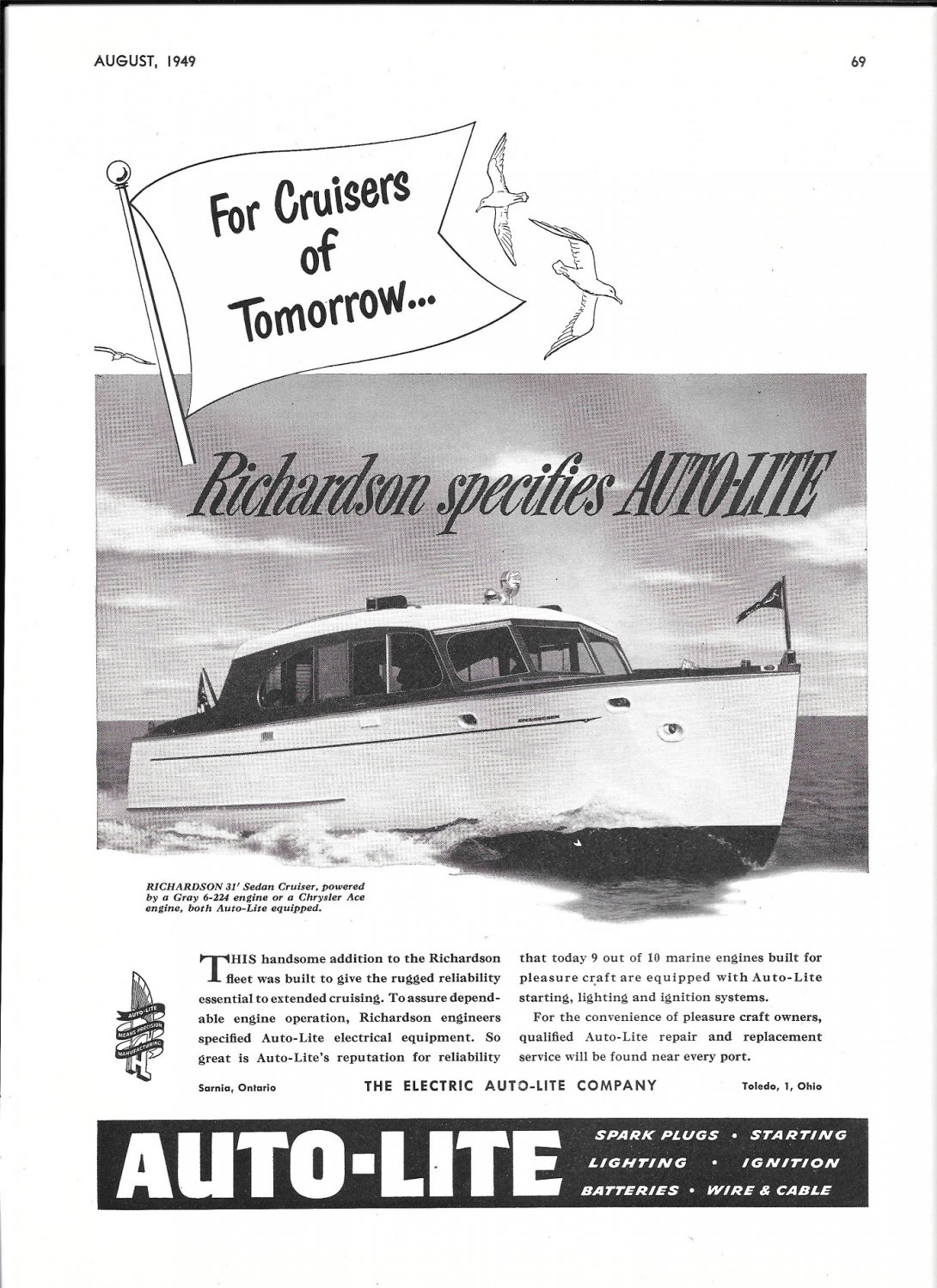 1949 Electric Auto- Lite Co. Ad- Richardson 31' Sedan Cruiser