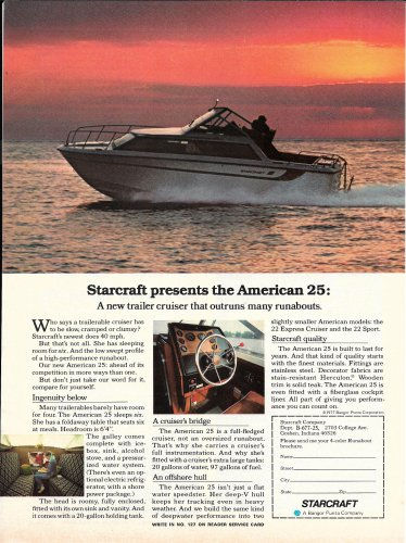 1977 Starcraft Boats Color Ad- The American 25