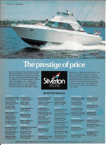 1979 Silverton Yacht Color Ad- The New 31' Convertible