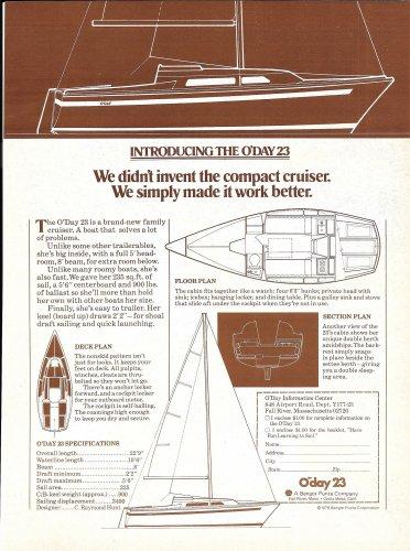 1976 O'Day Sailboats Ad- The O'Day 23- Specs