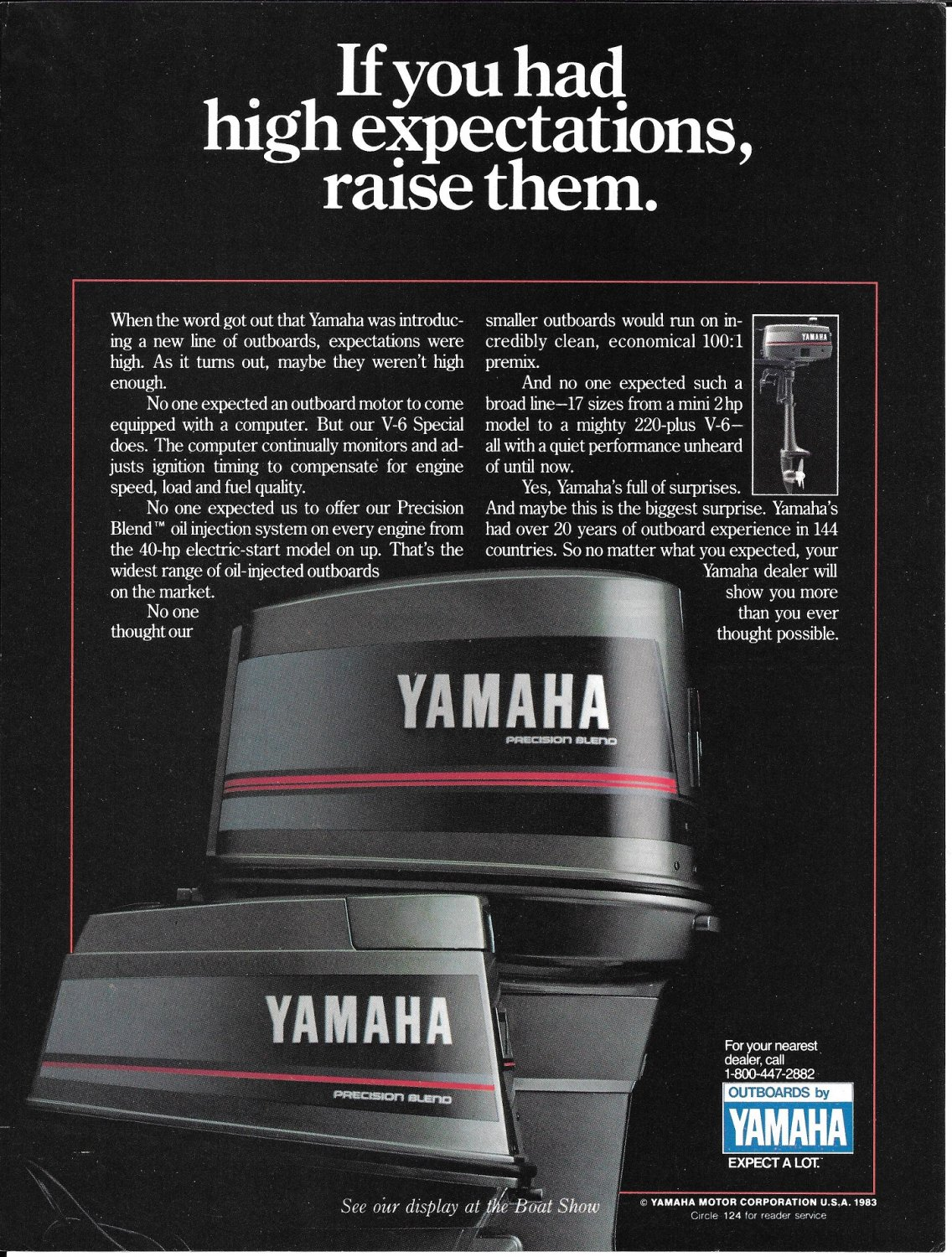 1984 Yamaha Outboards Color Ad- The V-6 220 HP Outboard Motor