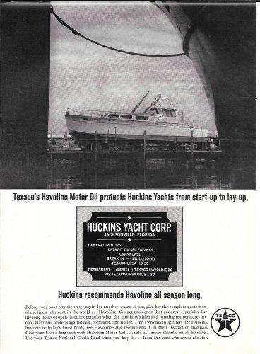 1965 Texaco Marine Ad Featuring Huckins Yacht