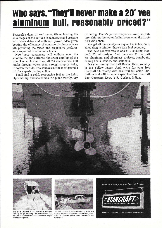 1965 Starcraft Boats Ad- 21' Chieftain & 16' Jupiter