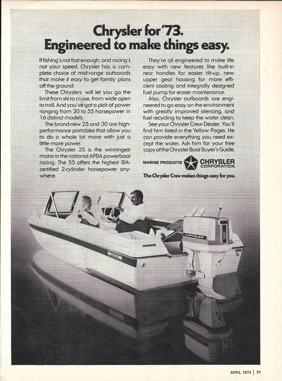 1973 Chrysler Marine Ad- 55 HP. Outboard motor & Chrysler Boat