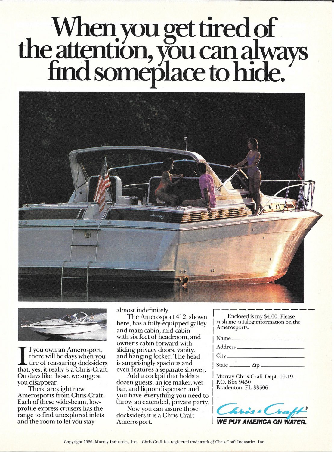 1986 Chris- Craft Yacht Color Ad- The Amerosport