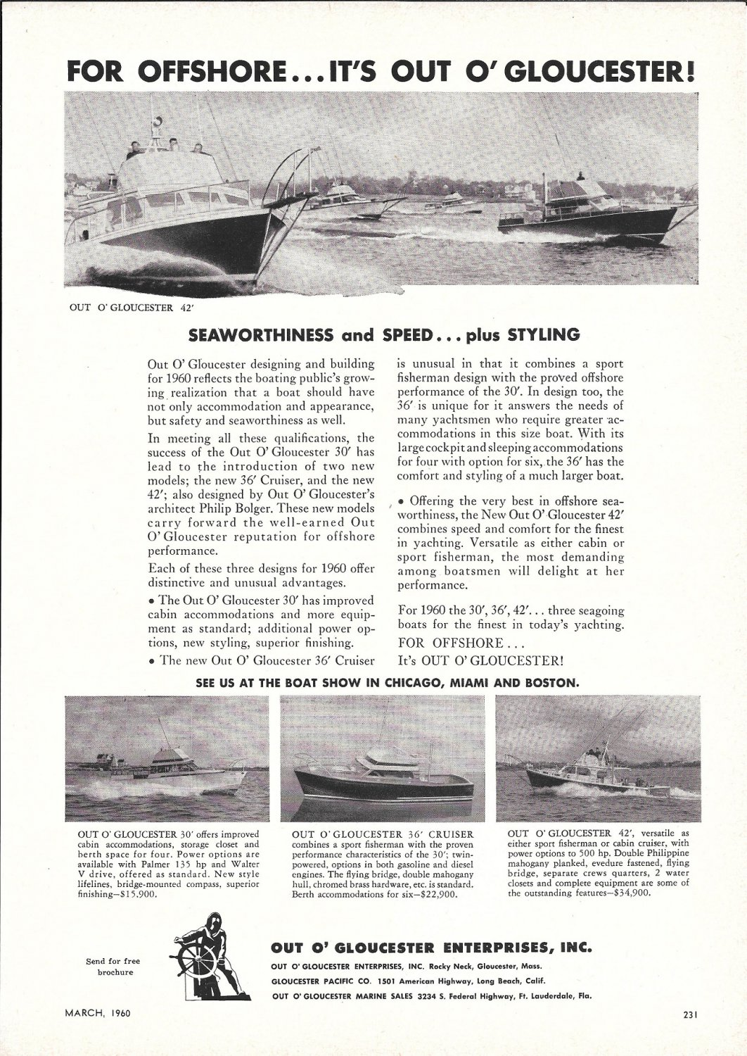 1960 Out O' Gloucester Yachts Ad- The 42'- 30'- 36' & 42'
